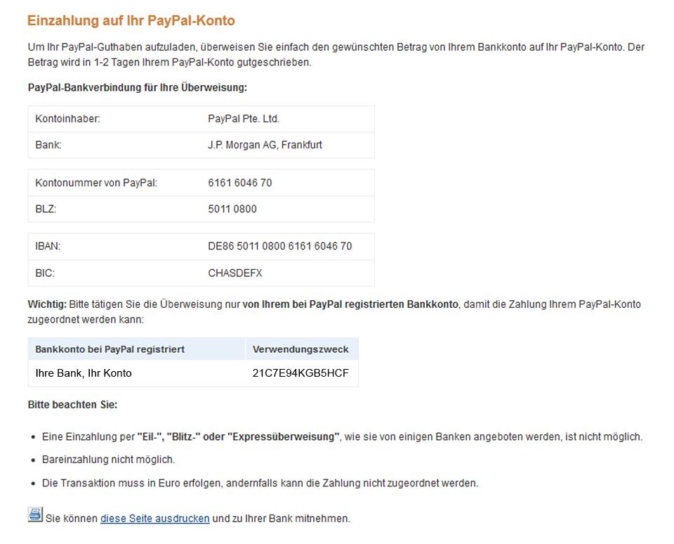 einzahlen auf paypal konto