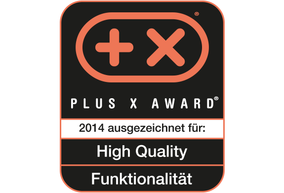 PLUS X Award for High Quality and Functionality border=